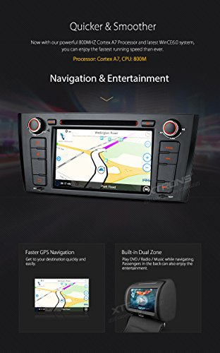 XTRONS 7 Inch HD Digital Touch Screen Car Stereo Radio In-Dash DVD Player with GPS CANbus for BMW 1 Series E81 E82 E88 2007-2014 Map Card Included by XTRONS (Image #5)