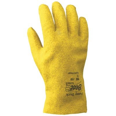 SHOWA Best Glove Size 11 Fuzzy Duck Heavy Duty Abrasion Resistant Yellow PVC Fully Coated Work Gloves With Cotton And Jersey Liner And Slip-On ()