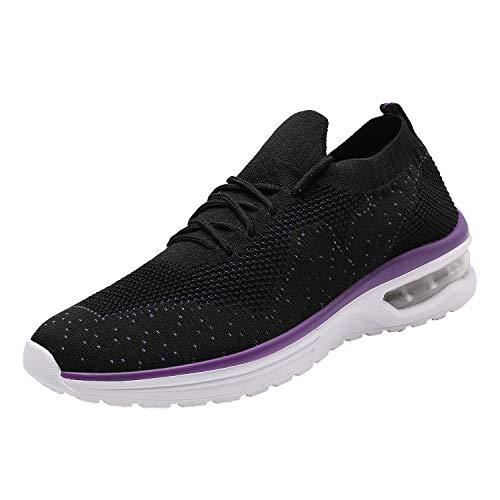 Hetohec Womens Walking Athletic Shoes Comfort Casual Sneaker Running Shoe Women Tennis Bike Racquetball Cycling(Purple42)