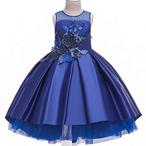 Baby Girls Infant Embroidery Dress Wedding Toddler High-end Dress Flower Dress,D0953-Blue,5 ()