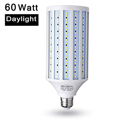 60W LED Corn Light Bulb (450W Equivalent), E26 Standard Base Light, 6000-Lumen, 6500K Daylight Cool White, AC 85V-265V, Corn LED Bulb for Indoor Outdoor Large Area Garage Factory Warehouse High Bay