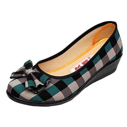 Creazrise Women's Wide Width Wedge Sandal - Platform Round Open Toe Bow Tie Plus Size Heel Plaid Shoes (Red,8) (Lace Bow Platform Side)