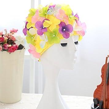 Nadar regalo tapa natación Hat Tinksky flores pétalo elegante gorras de baño talla L para mujeres (colorido): Amazon.es: Deportes y aire libre