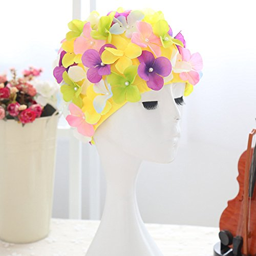 - Swim Cap Swimming Hat Tinksky Floral Petal Stylish Bathing Caps Size L gift for Women (Colorful)