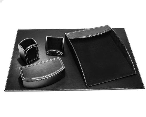 Dacasso 5-Piece Faux Leather Desk Set, Midnight Black