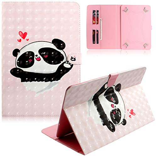 UGOcase Universal Case for 7 inch Tablet, Folio PU Leather Stand Wallet Cover for Samsung Galaxy/Amazon Fire 7/ Paperwhite/ HDX7/ Nexus/Dragon Touch/ASUS/Tab E Lite 7.0 / RCA, 3D Lovely Panda