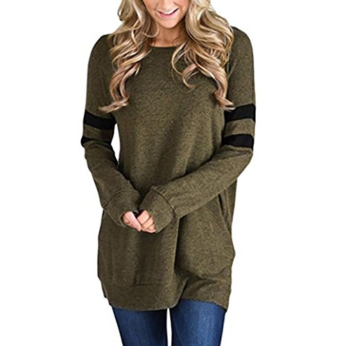 WILLTOO Womens Tops Sexy Long Sleeve Solid Comfort Blouse Long T-Shirt With Stripe (Green, XL)