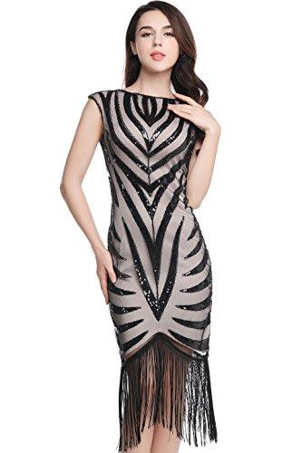 BABEYOND Women's Flapper Dresses 1920s V Neck Beaded Fringed Great Gatsby Dress supplier