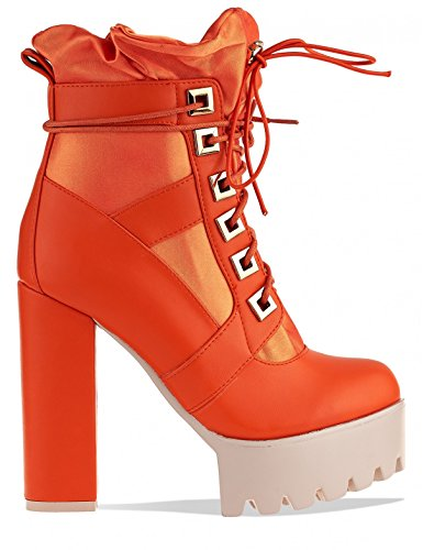 LAMODA Womens Lace up Extreme Platform Ankle Boots in PU Orange VP7Sx7hqk