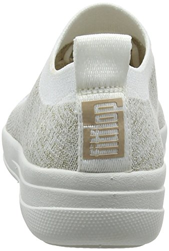 FitFlop F-Sporty Uberknit Sneakers-Metallic, Baskets Femme, Charbon, 36.5 EU Multicolour (Metallic Gold/Urban White 566)
