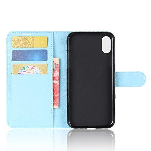 iPhone X Funda Faux Cuero Billetera Funda para iPhone X con Stand Función(Negro) Azul