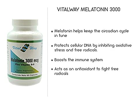 Amazon.com: Vital Way Melatonin 3000 MCG (3 MG), Natural Supplement, Sleep Support With vitamin B-6, 60 Capsules (Pack of 3): Health & Personal Care