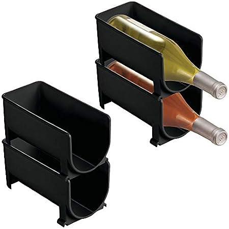 mDesign Juego de 4 Modernos estantes para Botellas – Botellero apilable para Botellas de Agua y cantimploras – Elegante vinoteca para la Cocina y la despensa – Transparente