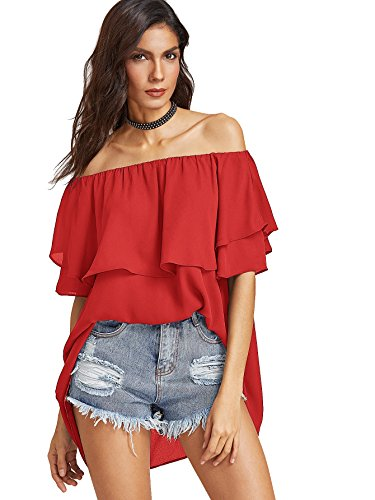 SheIn Women's Off Shoulder Chiffon Boho Ruffle Sleeve Blouse Large Red (Red Off Shoulder)