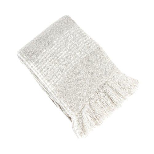 SARO LIFESTYLE TH121.GY5060 Sevan Collection Faux Mohair Design Throw Blanket, Grey, (Grey Mohair)