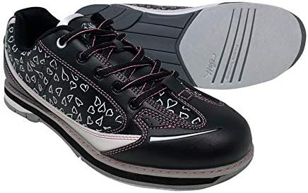 SaVi Bowling Products Women's Vienna Hearts White/Black/Pink Bowling Shoes_ Ladies Stylish Lace Up w/Universal Soles for Right or Left Handed Bowlers