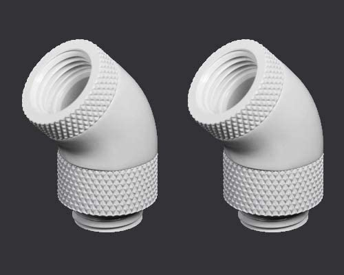 Barrow G1//4 45 Degree Dual Rotary Adapter Fitting White 2 Pack