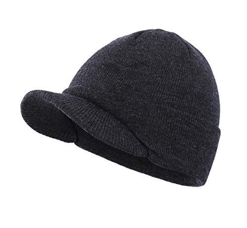 Home Prefer Mens Winter Hat Warm Knit Beanie Newsboy Caps Radar Skull Beanie Cap with Visor ()