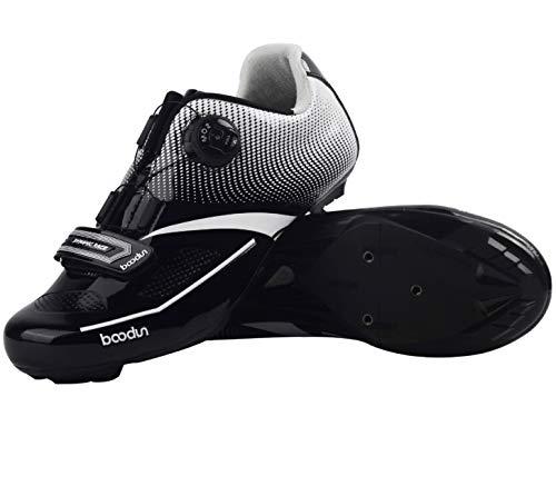 疲労船上リスト自転車靴 ューズ ビンディングシューズ ロードバイクの靴 シューズ シューズ ペダル サイクリングシューズ 耐摩耗性 通気性 超軽量 (45, ブラック)