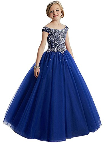 MemoryTU Girls Princess Tulle Beaded Straps Ball Gowns Flower Girl Pageant Dresses 6 US Royal Blue by MemoryTU