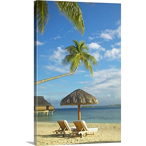 (GREATBIGCANVAS Gallery-Wrapped Canvas Entitled French Polynesia, Tahiti, Bora Bora, Lounge Chairs and Thatch Umbrella On Beach by Kyle Rothenborg 16