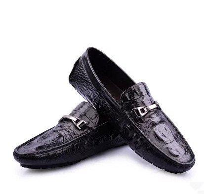 Happyshop (tm) Echt Leer Croco Toevallige Gesp Slip-on Rijdende Loafer Mode Heren Bootschoenen Gewoon Cavalli Zwart (stijl B)