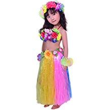 Fighting to Achieve Child Hula Costumes Hawaiian Rainbow Outfits 7pcs