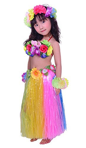 Fighting to Achieve Child Hula Costumes Hawaiian Rainbow Outfits 7pcs/23.6