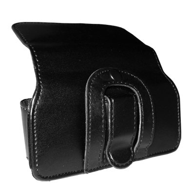 Executive Black Horizontal Leather Side Case Pouch with Belt Clip and Belt Loops for Samsung Rugby II A847 [Accessory Export Brand Packaging]