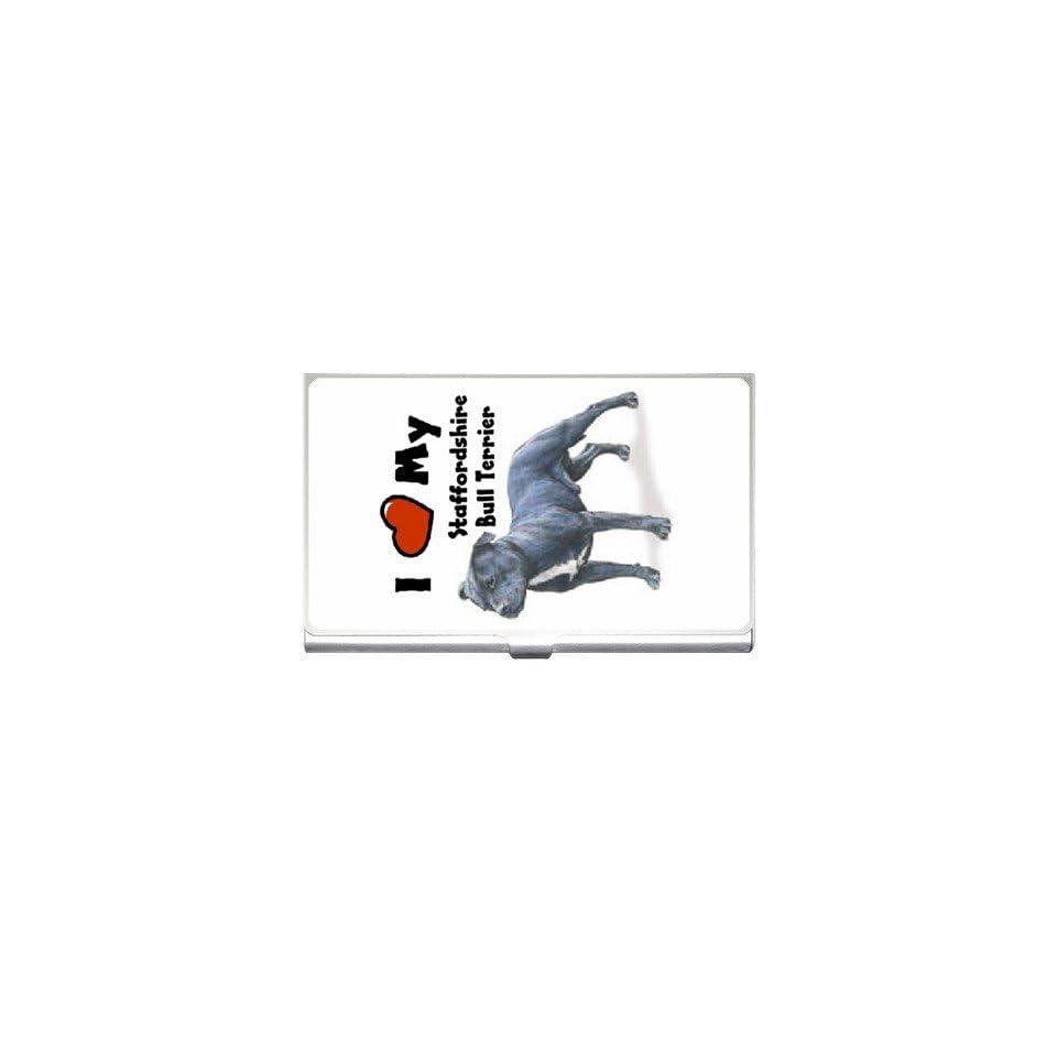 I Love My Staffordshire Bull Terrier Business Card Holder Case