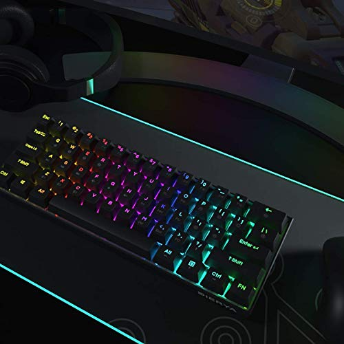 DIERYA DK61E Keyboard and RGB Mouse Pad Combo, 60% Wired Mechanical Gaming Keyboard Perfect Match RGB Gaming Mouse Pad