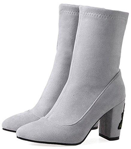 spitze Stiefel an knöchelhohe ziehen Ferse klobige süße Damen Easemax Wildleder Faux mittlere Zehe q700w4