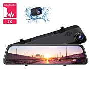 """#LightningDeal TOGUARD 2K Mirror Dash Cam 12"""" Backup Camera Voice Control Touch Screen Front and Rear Dual Dash Camera for Cars Rear View Mirror Camera with 1080P Waterproof Rear Camera"""