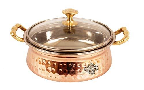 IndianArtVilla Hammered Steel Copper Casserole Donga with Glass Lid, Tableware, 500 ML
