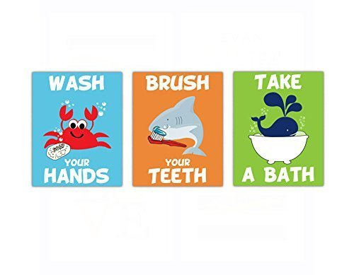 Amazon Com Bathroom Kids Rules Quotes Sayings Wash Brush Bath