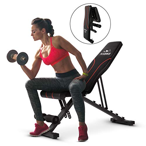 (FLYBIRD Adjustable Bench,Utility Weight Bench for Full Body Workout- Multi-Purpose Foldable Incline/Decline Benchs (Black))