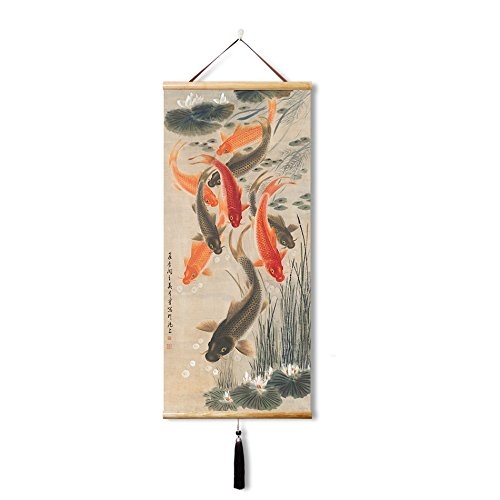 EAPEY Oriental classical Home decoration painting landscape scroll painting, office bedroom living room dormitory decoration (35X80CM)