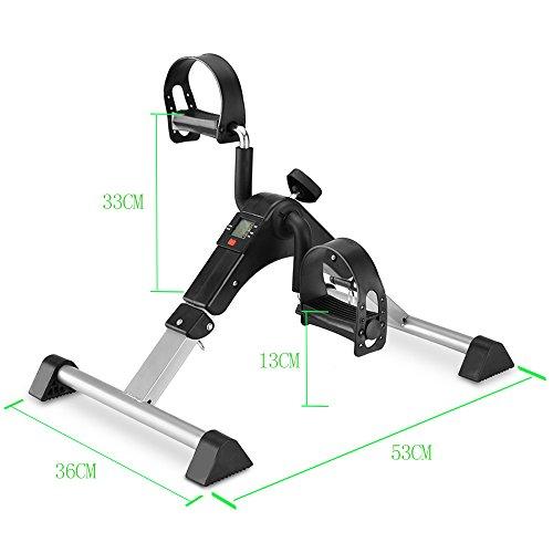 MOMODA Stationary Cycle Pedal Exerciser Desk Exercise Bike with LCD Monitor Foldable (Black/Grey) by MOMODA (Image #4)