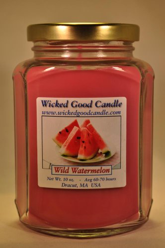 Watermelon Scented Jar Candles (Wicked Good Candle 10 Oz. Glass Jar, Wild Watermelon Scented Candle)