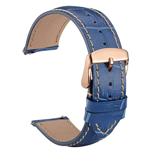 WOCCI 22mm Watch Band Quick Release - Alligator Embossed Leather Watch Strap Blue Black with Rose Gold Buckle