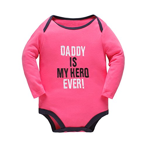 Yatong Baby Long Sleeve Bodysuit for Boys and Girls Onesies Baby Romper (6-12 Months, Rose)