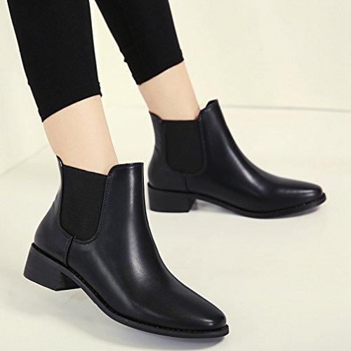 Automne Chelsea Femmes Pu Basse Bloc Boots Demi Plate Botte Hiver En 6HwBqf