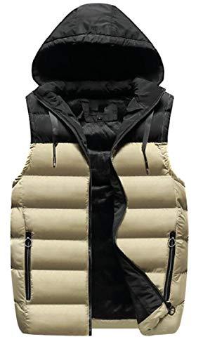 Gocgt Coat Sleeveless Down Men Khaki Puffer Lightweight Vests Packable Winter FHxTF
