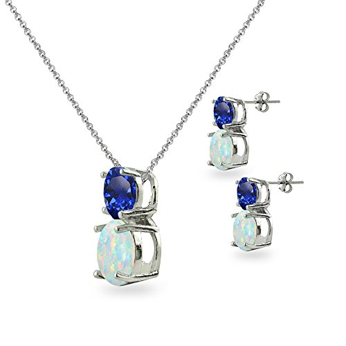 Sterling Silver Created Blue Sapphire & Simulated Opal Double Round Stud Earrings & Necklace Set by GemStar USA (Image #1)