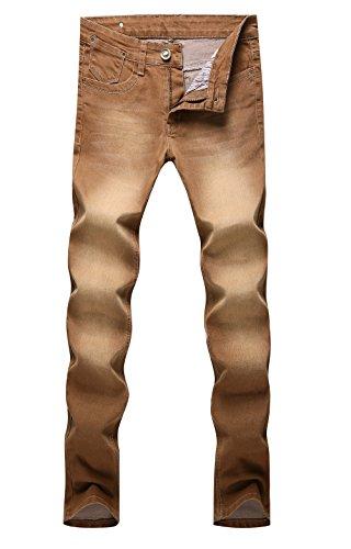 AmorGafas Men's Slim Fit Skinny Brown Jeans Trousers