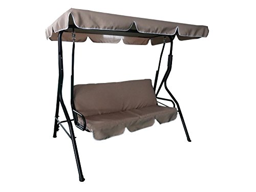 "66.93"" Taupe Brown 3-Seater Outdoor Patio Deck Swing with..."