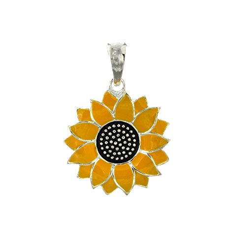 925 Sterling Silver Flower Charm Pendant, 2-D Sunflower, Yellow Enamel