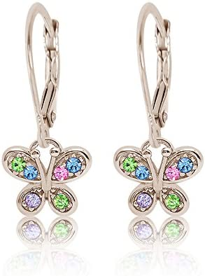 9a6225acff5da Buy Premium 8MM Crystal Butterfly Leverback Kids Baby Girl Earrings ...