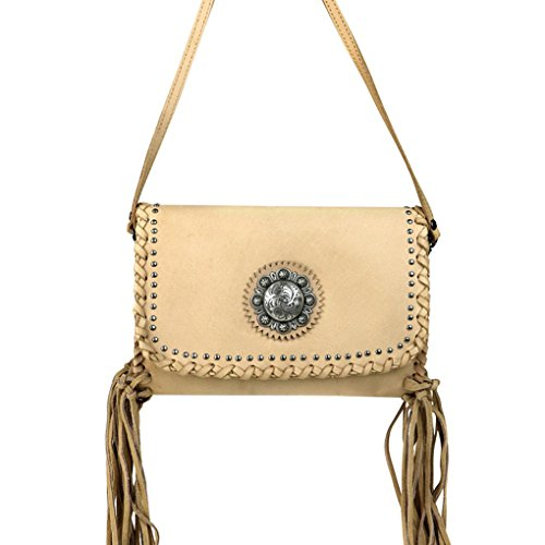 Purse Bundle Leather Fob w Flash Light Clutch Tan Key 3 of Fringe amp; Handbag Concho X4z1nwW5zr