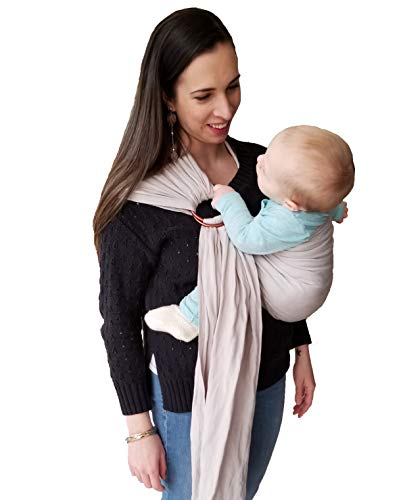 Eco-Friendly Luxury Ring Sling Baby Carrier Incredibly Soft Bamboo and Linen Fabric for Newborns, Infants and Toddlers Ideal Baby Shower Gift Nursing Cover